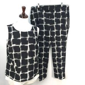 NWT Elle Collection Black & White Shirt Pants Set